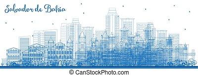 Outline Salvador de Bahia Brazil City Skyline with Blue ...