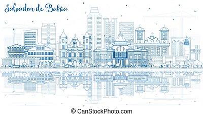 Outline Salvador de Bahia City Skyline with Blue Buildings ...