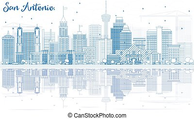 Outline San Antonio Skyline with Blue Buildings and Reflections.