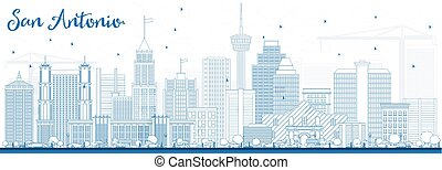Outline San Antonio Skyline with Blue Buildings.