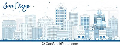 Outline San Diego Skyline with Blue Buildings.