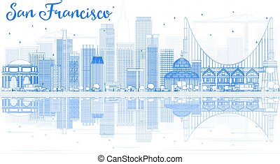 Outline San Francisco Skyline with Blue Buildings and Reflection.