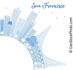 Outline San Francisco Skyline with Blue Buildings.