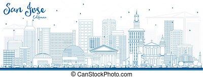 Outline San Jose California Skyline with Blue Buildings.