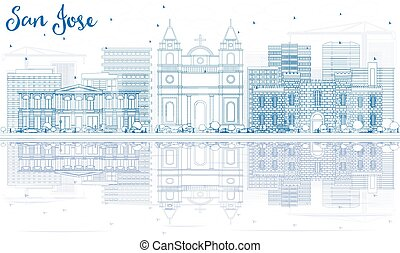 Outline San Jose Skyline with Blue Buildings and Reflections.