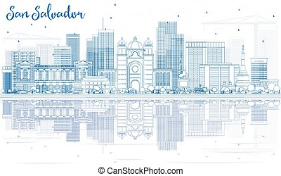 Outline San Salvador Skyline with Blue Buildings and Reflections.