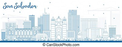 Outline San Salvador Skyline with Blue Buildings.