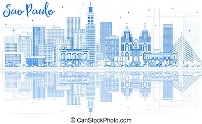 Outline Sao Paulo Skyline with Blue Buildings and Reflections.
