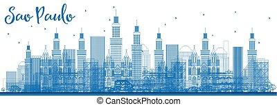 Outline Sao Paulo Skyline with Blue Buildings.