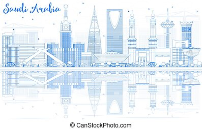 Outline Saudi Arabia Skyline with Blue Landmarks and Reflections. Vector Illustration. Business Travel and Tourism Concept. Image for Presentation Banner Placard and Web Site.