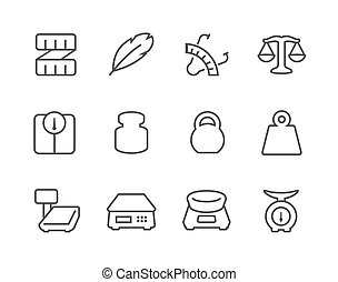 Outline Scales and Rulers Icons - Simple Set of Scales and...