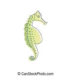 outline., seahorse, grand, illustration, vecteur, vert, ...