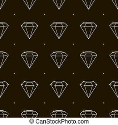 Outline Seamless pattern jewelry with precious stones, diamonds, vector illustration