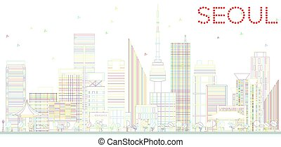 Outline Seoul Skyline with Color Buildings.