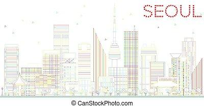 Outline Seoul Skyline with Color Buildings.