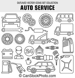 Outline set autoservice icons. Vector