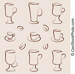 Outline set coffee and tea design elements