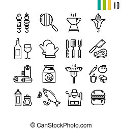 Outline set of BBQ grill icons