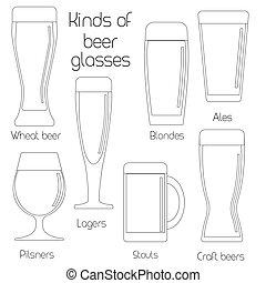 Outline set of beer glassware
