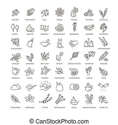 Outline set of condiment vector icons