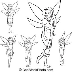 Outline set of cute fairies