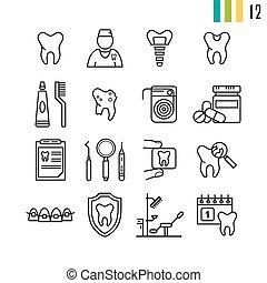 Outline set of dental icons