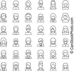 Outline set people icons. vector