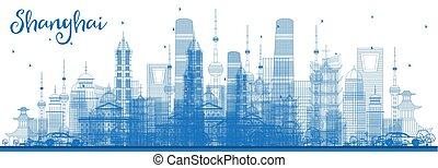 Outline Shanghai Skyline with Blue Buildings.