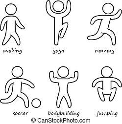 Outline shapes athletes