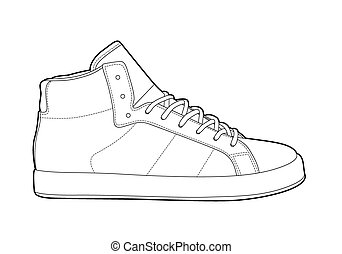 outline shoes - Black outline vector shoes on white ...
