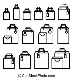 Outline Shopping Bag Icon Set. Paper Market Bag  Icons Isolated on White.
