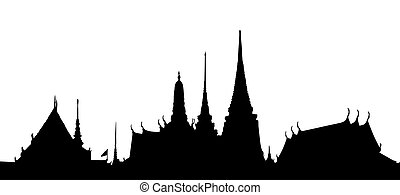Thai temple - Outline silhouette of a Thai temple