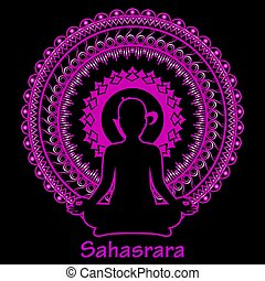 Outline silhouette of meditating women on black background. Sahasrara chakra.