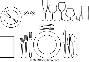 Outline silhouette of tableware. Etiquette proper table setting