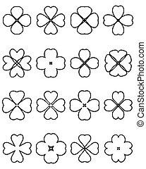 four leaf clover - Outline silhouettes of four leaf clover, ...