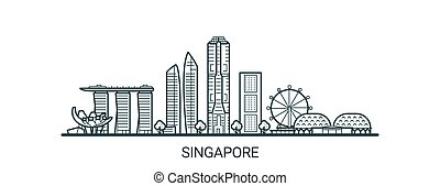 Outline Singapore banner - Linear banner of Singapore city....