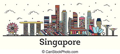 Outline Singapore City Skyline with Color Buildings Isolated on White.
