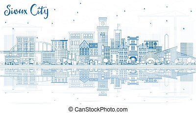 Outline Sioux City Iowa Skyline with Blue Buildings and ...