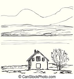 Outline sketch of a house. Hand drawn landscape
