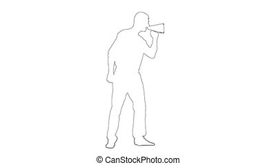 Outline sketch of a person yelling through a megaphone. White background. Silhouette