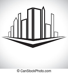 Outline sketch of cityscape urban setting with tall...