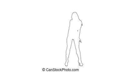 Outline sketch of dancer makes graceful erotic movements. ...