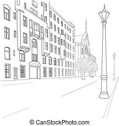 Outline sketch of european city street