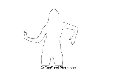 Outline sketch of girl makes graceful erotic movements. ...