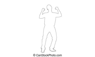Outline sketch of guy dances energetic movements. Silhouette...
