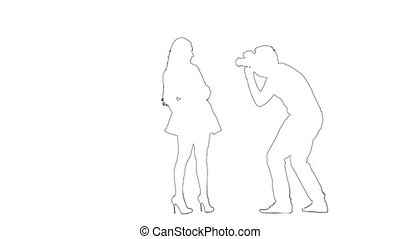 Outline sketch of guy photographs a girl. Silhouette. White background