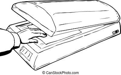 Outline sketch of hand placing paper in scanner