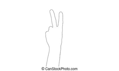 Outline sketch of hand showing two fingers gesture sign ...