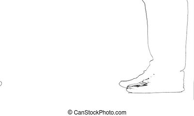 Outline sketch of legs of a man's girl get on toes. Silhouette. White background. Close up.