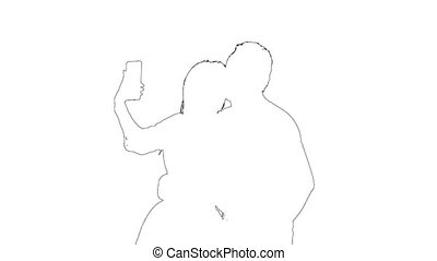 Outline sketch of portrait romantic pair is take selfie photo on a mobile phone. Silhouette. White background.